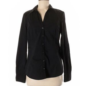 New York & Co. Black Long Sleeve Button Up Blouse